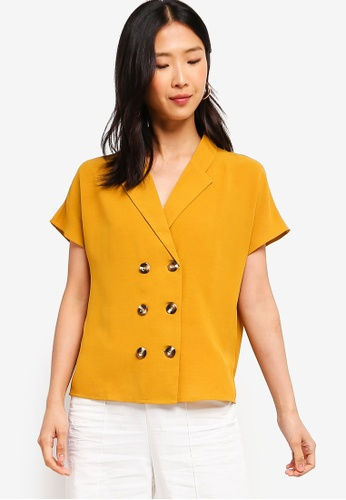 ZALORA BASICS yellow Basic Blazer Shirt 77679AA129E16DGS_1