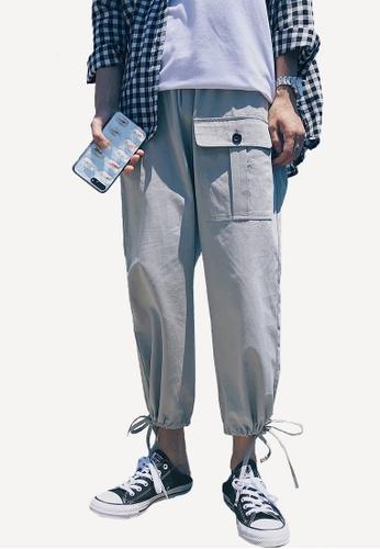 hk-ehunter 灰色 寬鬆休閒工裝褲 5F698AA6831E30GS_1