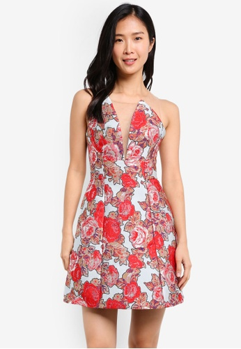 TOPSHOP white and red Jacquard Sheer Panel Prom Dress TO412AA0SHHZMY_1