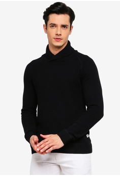 0b70440482d1f3 Jack & Jones black Tony Knit Shawl Neck Jumper 0B433AA230CC71GS_1