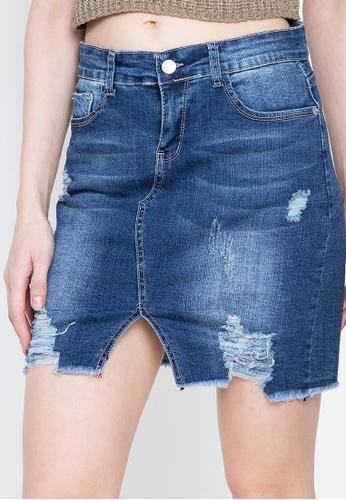 Balaynor blue Cropped Distressed Skirt 0FF17AA4FF4BF1GS_1