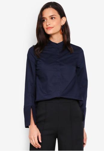 Lubna blue Eplaulet Sleeve Oversized Shirt D8E6AAA41E3189GS_1