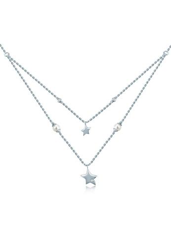 MaBelle silver Starlight 925 Sterling Silver Diamond Pearl Necklace 6FB4BAC82AAEA8GS_1
