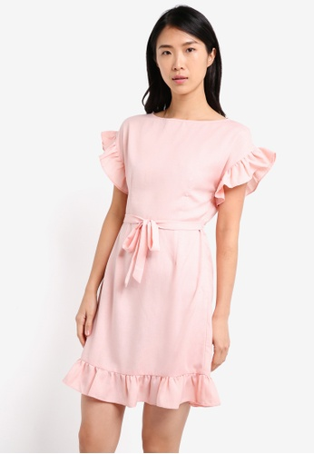 ZALORA pink Ruffle Slim Fit Dress B46E5AA5600598GS_1