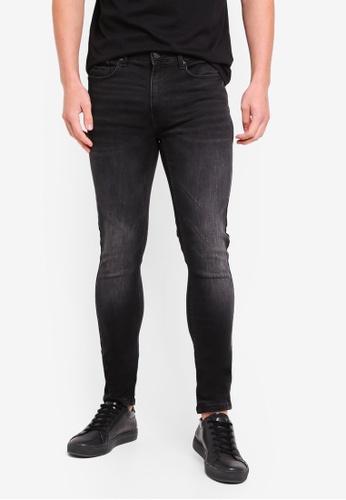 Burton Menswear London 黑色 Used Black Ethan Hyper Stretch Super Skinny Fit Jeans 09BB9AA31D1DDBGS_1