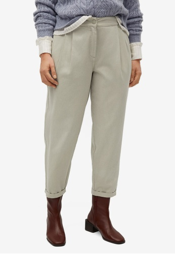 Violeta by MANGO green Plus Size Slouchy Cotton Trousers 1B6A3AAA262190GS_1