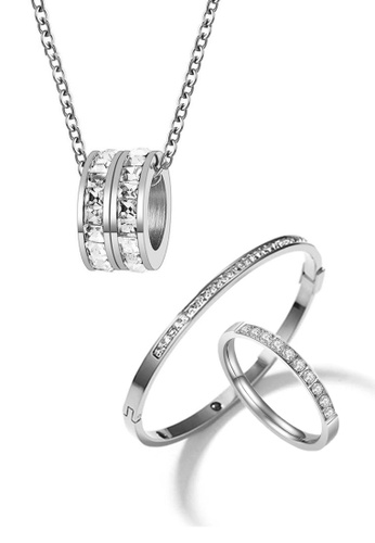 CELOVIS silver CELOVIS - Eloise Necklace Paired with Arya Bangle and Diamante Ring Jewellery Set in Silver 43958ACB59A58BGS_1