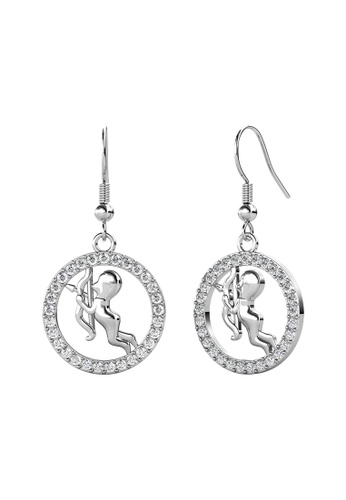 Her Jewellery white Her Jewellery Circlet Hook Sagittarius Earrings (White Gold) embellished with Crystals from Swarovski 8B962ACFFA936BGS_1