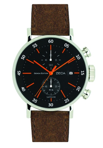 ZECA black and orange and brown Zeca Watches Men Fashion Leather Analog - 266M Brown Black BDA89ACF8FA565GS_1
