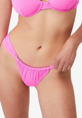 Cotton On Body pink Gathered Strap Brazilian Bikini Bottom 4AB92US08B2C50GS_1