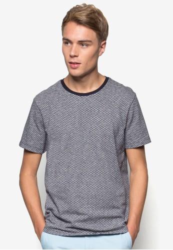 撞色圓領暗紋T 恤, esprit 眼鏡服飾, T恤