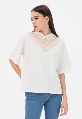 MKY Clothing white MKY Lace Hoody Blouse 86197AA997C0B9GS_1