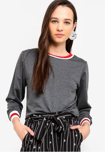Something Borrowed grey Contrast Rib Sweater 908F9AA17D41EEGS_1