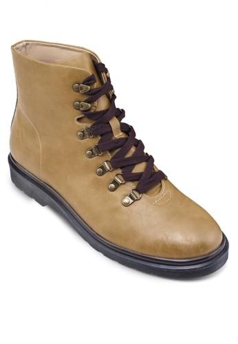 仿皮繫帶中筒靴, 鞋, zalora是哪裡的牌子靴子