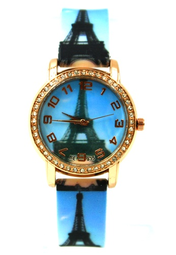 World of Watches blue and gold Women's Paris Day Time Silicon Strap Watch 016 WO566AC95VHGPH_1