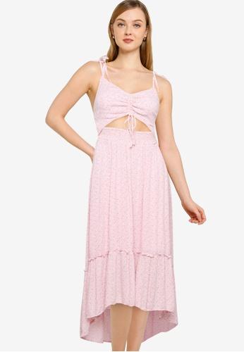 Hollister pink Chain Midi Dress A300EAA73B48FDGS_1