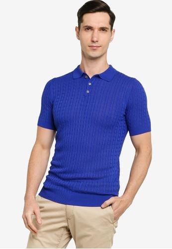 ZALORA BASICS 藍色 Cable Knit Polo Jumper 7F038AAC2381EAGS_1