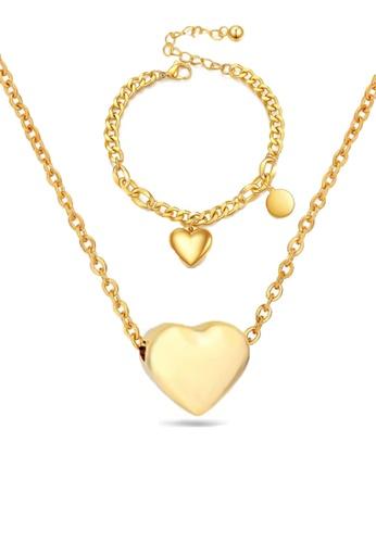 CELOVIS 金色 CELOVIS - Desiree 愛心吊墜項鏈+手鏈套裝(金色) 80837ACCA9A98EGS_1