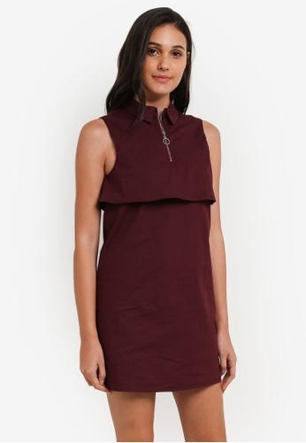 Something Borrowed purple Sleeveless Layered Shirt Dress 05303AADC1A55EGS_1