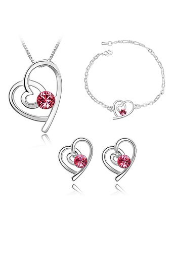 LOVENGIFTS pink LOVENGIFTS Complete Love Crystal Jewellery Set (Pink) LI189AC20MWDMY_1