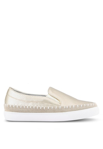 Something Borrowed gold Perforated Espadrille Slip Ons 0274ASH70B34D8GS_1