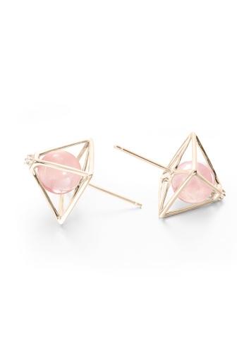 8c818c84f Buy Majade Jewelry Rose Quartz Stud Earrings In 14k Gold With Diamonds,  Pyramid Design | ZALORA HK