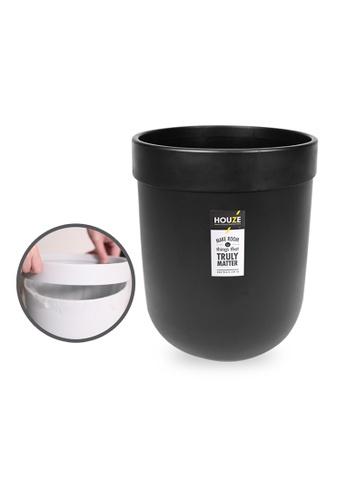 HOUZE black HOUZE - 10L Waterproof Design Open Top Wastebin with Pressure Ring (Black) 03A55HL9202E29GS_1
