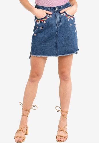 Something Borrowed blue Embroidered High Low Hem Denim Skirt C2176AAA204101GS_1