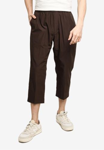 GLOBAL WORK brown Casual Cropped Pants 09B6EAA3D41F80GS_1