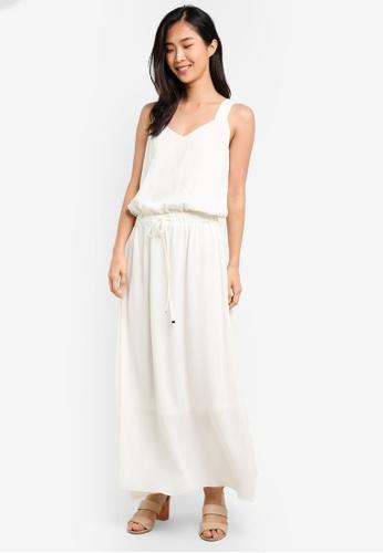 ZALORA white Dropwaist Drawstring Maxi Dress 204C7AA1632AD2GS_1