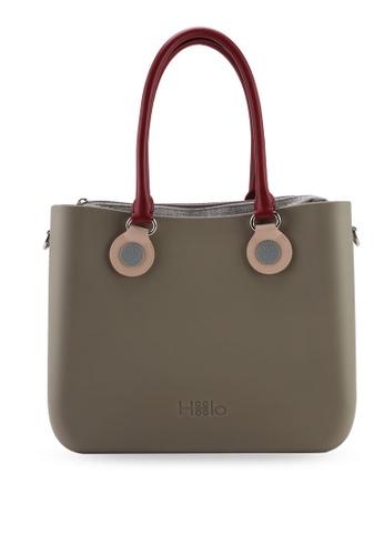 Hoola Hoola grey Alma Tote Classic - Sage with Bordeaux & Dusty Pink handles 6BCA7ACD0EB6BBGS_1