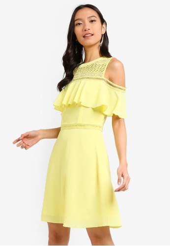 ZALORA yellow Cold Shoulder Fit And Flare Dress C1E3CAA7229B58GS_1