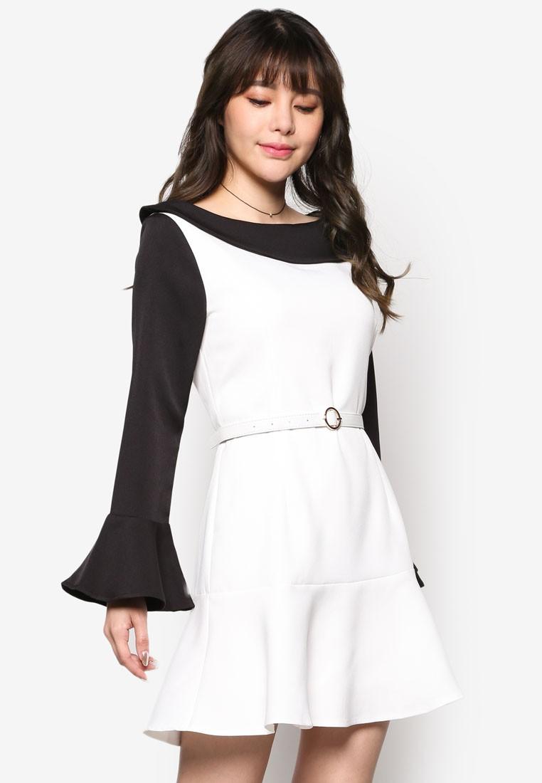Colour Block Peplum Hem Dress