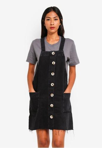 River Island black Denim Dungaree Dress A08C6AAAD83E66GS_1