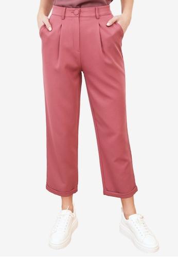 Trendyol pink High Waist Cigarette Trousers 4FF01AA6711804GS_1