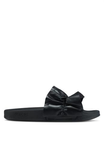 Slydes 黑色 蝴蝶結褶飾拖鞋 E749ASHD1BC98AGS_1