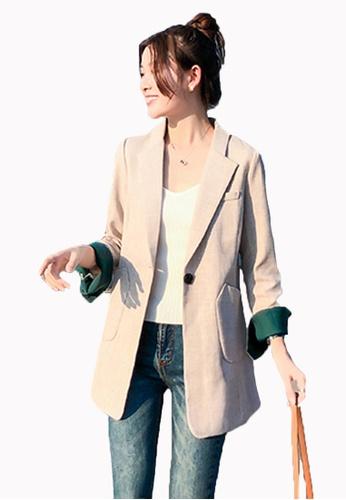 Halo beige Single Button Slim Suit Blazer 29133AA15CCBAAGS_1