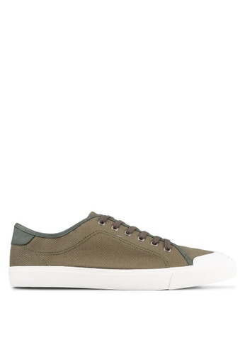Topman green Khaki Canvas Rubber Toe Plimsolls TO100SH0K85ZPH_1