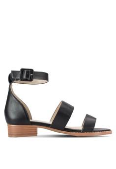 【ZALORA】 雙寬帶繞踝低粗跟涼鞋