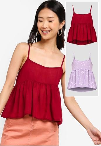ZALORA BASICS red and multi 2 pack Basic Cami Top ZA424AA0QONLPH_1