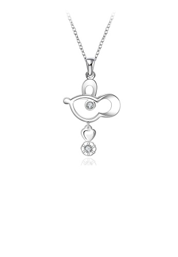 Glamorousky white Simple and Cute Little Mouse Pendant with Cubic Zircon and Necklace 35AC5AC80AEB46GS_1
