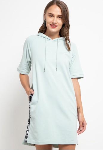 Giordano green Women's Hoodie Raglan Dress B52C0AA6FB92A2GS_1