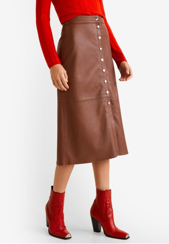 MANGO brown Buttons Leather Skirt FFB3BAA754BFE0GS_1