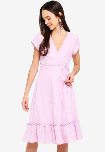 Something Borrowed purple Ruffles Hem Midi Wrap Dress D1B99AAF01B37CGS_1