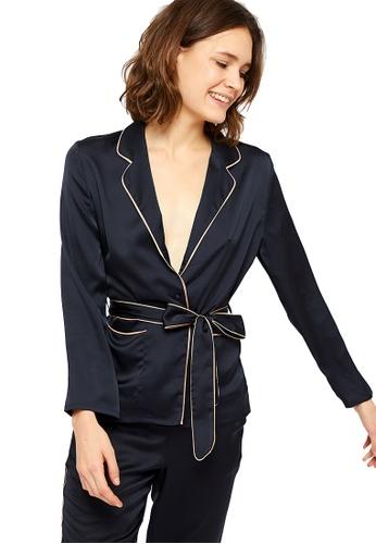 Etam black Guarana Satin Pajama Shirt 6A9B9AA3DF4C01GS_1