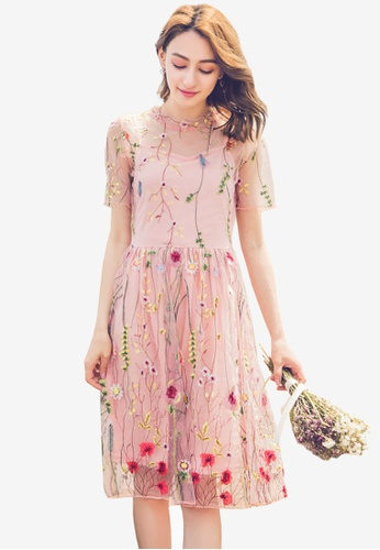 YOCO pink Embroidered Floral Lacy Overlay Dress A0330AA6632469GS_1