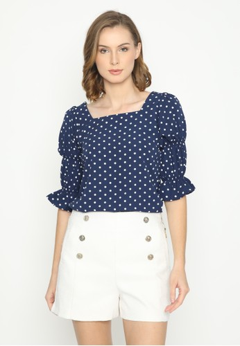Mannequin blue Square Polkadot Blouse 94EF4AA4ED179EGS_1