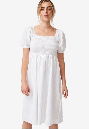 Cotton On white Woven Petite Leah Short Sleeve Midi Dress C40E1AAF9BE048GS_1