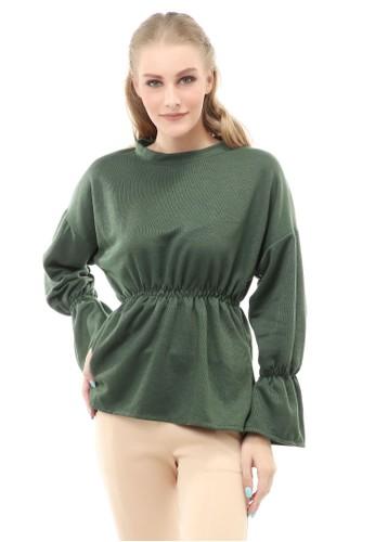 Hamlin green Cheva Blouse Wanita Lengan Pendek Kerut Pinggang Material Cotton ORIGINAL - Army 01293AAB19A070GS_1