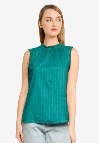 GAP green Sleeveless Shirred Lace Trim Top 1A740AA1C427B4GS_1
